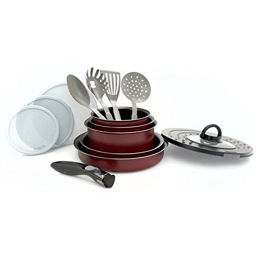 Batterie de cuisine 14 pieces + poignée amovible rouge