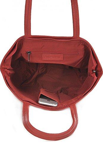 Shopper aus Leder, Gelb - elegante Tasche mit Reißverschluss, Schultertasche für Uni, Schule, Arbeit - für Tablet, Portemonnaie - 45 x 29 x 16 cm - Ledertasche von PHIL+SOPHIE Rot