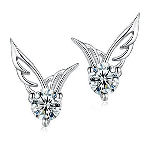 Da.Wa Charming And Elegant Silver Jewelry Angel Wings Crystal Stud Earrings for Women