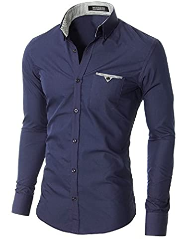 MODERNO Slim Fit Coton Casual Chemise Homme (VGD063LS) Marine EU L