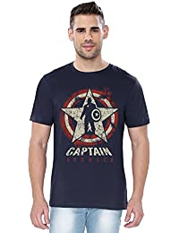 The Souled Store MARVEL: CAPTAIN AMERICA Guardian of Freedom Superhero Premium Printed NAVY BLUE Cotton T-shirt for Men Women and Girls