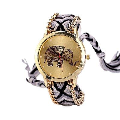 Bracelets Armbänder réf2s20BR. 1028–Zeigt brasilianisches schwarz und weiß–Motiv Elefant Mandala Hippie Bohème–goldfarbener Kette–Verstellbar–Style Boho - Schmuck Brasilianischer