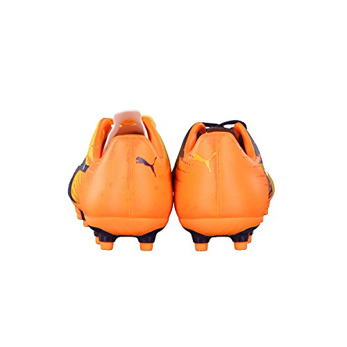 Puma Evospeed 17.5 Fg Jr, Chaussures de Football Mixte Enfant Ultra Yellow-Peacoat-Orange Clown Fish