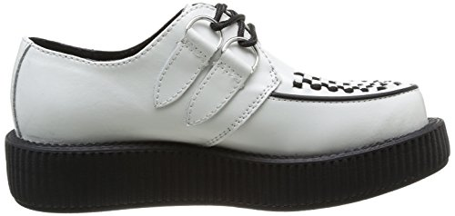 T.U.K. Low Sole Round Creeper, Baskets mode mixte adulte Blanc (White/Black Interlace)