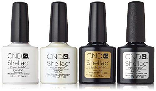 CND Shellac Cream Puff plus Negligee plus Top Coat plus Base Coat 7.3 ml, 1er Pack (1 x 29 ml)