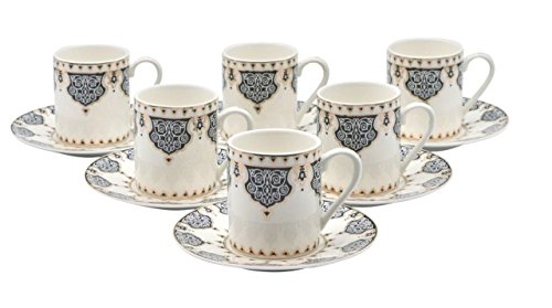 Bone China Porzellan Espresso Turkish Coffee Demitasse Set von 6 Arabesque Muster Tassen + Untertassen fein Demi-tasse, 3 oz, 80 ml schwarz China Demitasse