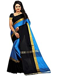 High Glitz Fashion Women's Cotton Silk Sky Blue Colour Latest Sarees With Blouse Piecs