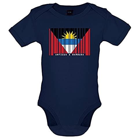 Antigua and Barbuda / Antigua und Barbuda Barcode Flagge - Lustiger Baby-Body - Marineblau - 0 bis 3 Monate