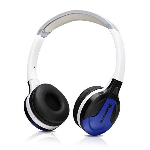 NAVISKAUTO On-Ear Kopfhörer Leichtkopfhörer Bügelkopfhörer Headset Headphone mit 1,5M Audiokabel für Tragbarer DVD Player Kopfstützenmonitor inkl. Lautstärkeregler Blau - Kopfhörer Für Tragbare Dvd-player
