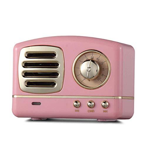 LDQLSQ Tragbarer Lautsprecher Bluetooth-Box Freisprechen Wasserdicht Handy Retro Radio Karte Subwoofer Kreative Mini Antique Kleine Stereo,Pink 10 One-touch-memory