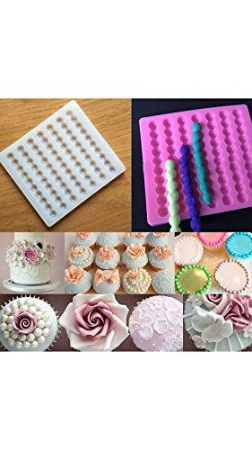 ELECTROPRIME Bead Pearl Chain Fondant Mould Cake Border Decor Sugarcraft Mold Silicone Pink