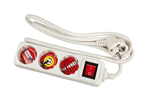 Arcas Steckdosenleiste 3-fach mit Schalter, Kinderschutz (1,5m) weiß