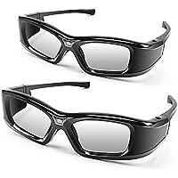 APEMAN Lunettes 3D Actives Série DLP Design Léger Réchargeable 3D Glasses VR Luminance et Contraste Violente Compatible avec tous les Vidéoprojecteurs DLP 3D (2 Paires)