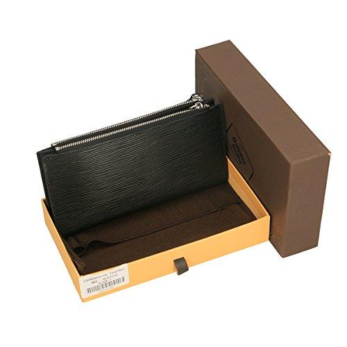 Chicca Borse Portafogli in pelle 12x9x3 100% Genuine Leather Nero