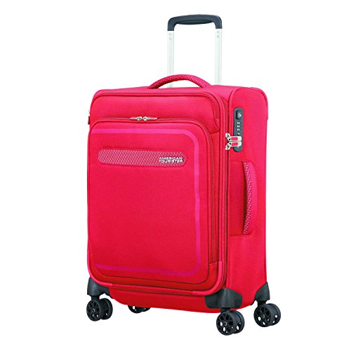American Tourister Airbeat - Spinner 55/20 Expandable Equipaje de mano, 55 cm, 43 liters, Rojo (Pure Red)