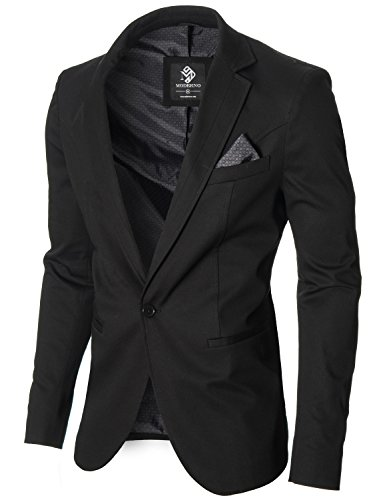 MODERNO - Slim Fit Herren Sakko Blazer Jacke (MOD14519B) Schwarz