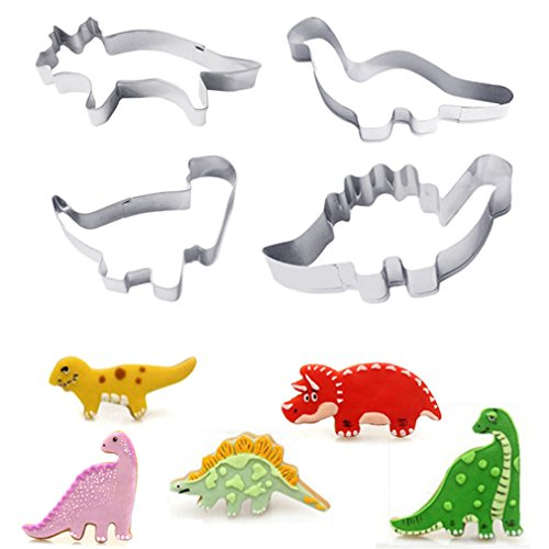 ODN 4tlg Dinosaurier Ausstechform Kuchen Biskuit Form Ausstechformen Ausstecher Edelstahl Cookie - Dinosaurier-kuchen-form