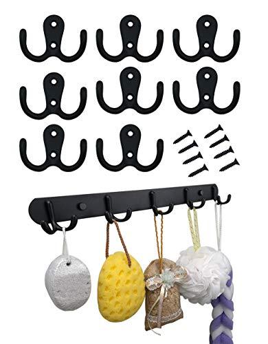 T-shin Doppel-Hut-Kleiderbügel mit 10 traditionellen Türhaken, Kleiderbügel im Retro-Stil, für Tür und Wand -