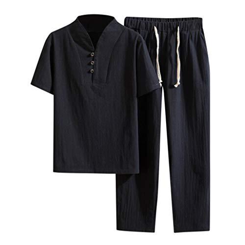 Floweworld Herren Baumwoll Leinen Anzug Casual T-Shirt Lange Hosen Plus Size Sommer Yoga Set