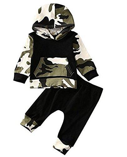 Rawdah i neonati dei neonati dei capretti neonati vestono i pantaloni del camuffamento delle parti superiori + pantaloni lunghi (18/24mesi, camuffare)