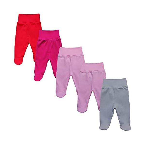 MEA BABY Pantalones unisex para bebé con pie de 100 % algodón en paquete de 5 unidades. Pelele con pie. 1