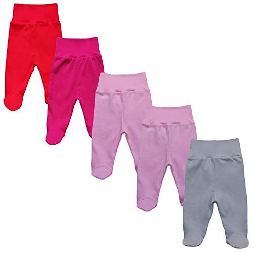 MEA BABY Unisex Baby Hose mit Fuß aus 100% Baumwolle im 5er Pack. Baby Stramplerhose mit Fuß. Babyhose mit Fuß Jungen Baby Hose mit Fuß Mädchen. (74, Mädchen)