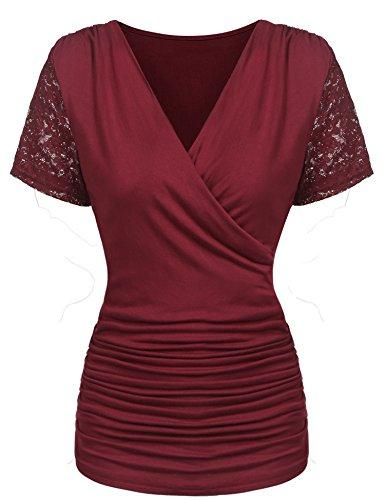 Parabler Damen Sexy V-Ausschnitt Kurzarm Tunika Blusen Oberteile Stretch T-Shirt in Wickel-Optik mit Rüschen (Weinrot, EU 36/S)