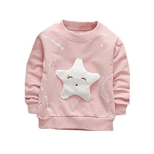 ❤️Kobay Junge Mädchen Baby Outfits Kleidung InfantStar Gedruckte Baumwolle Lange Ärmel T-Shirt (80/12 Monat, Rose)