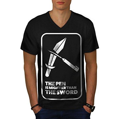 Wellcoda Pen Designer Sword Funny Men S-2XL V-Neck T-Shirt