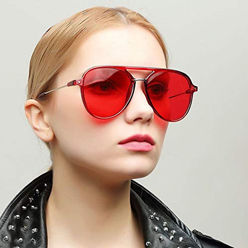 SQYJING Sonnenbrille Neue rote linse Aviator Sonnenbrille Frauen Metall Pilot Sonnenbrille Luxus Sonnenbrille 400 uv, c-f0n3
