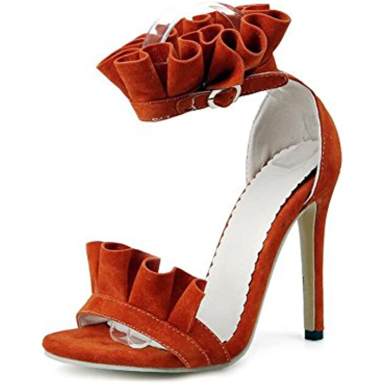 SHINIK Chaussures pour femmes en daim été été été confort  s à volants  s à talons hauts pour Casual Jaune... - B07CVZGP31 - 12a83a
