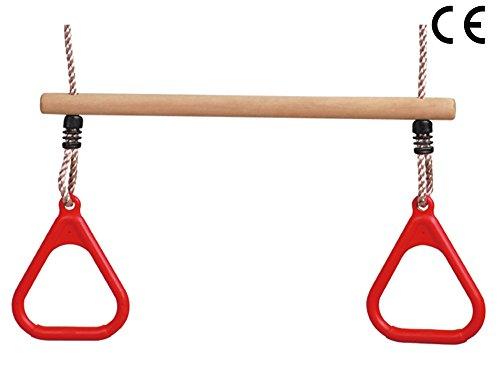 HIKS Kinder Trapeze Bar mit Rot Gym Ringe für Klettergerüst (auch in grün und blau erhältlich)