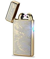 Arc Lighter Electric Dual Plasma Lighter-Gold Dragon
