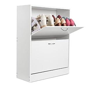 HOMFA Schuhschrank Schuhregal Schuhkommode 2 Schuhablagen pro Schuhkipper bis zu 12 Schuhe 80×23,5x80cm (Schuhschrank…