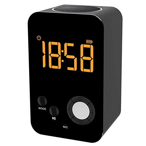 YQ Kabelloser Bluetooth-Lautsprecher mit Wecker, MP3-Player, tragbares LED-Nachtlicht, Snooze-Funktion, 24-Stunden-Zeitanzeige,Black