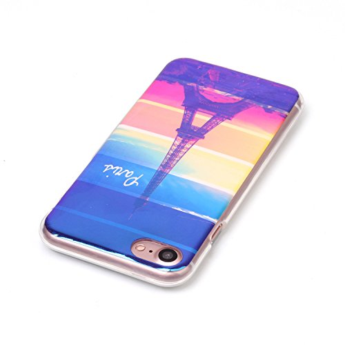 Cover iphone 8 / 7, Custodia iphone 8 / 7, Alfort Cover Protettiva Premium TPU di alta qualità Flip Case Cover per iphone 8 / 7 4.7 Smartphone Colorato Cristallo Trasparente Ultra Sottile Morbido TPU Torre