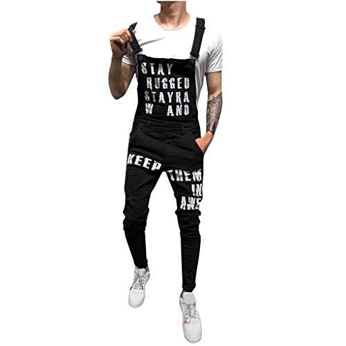 Lucky Mall Herren Mode Brief Drucken Denim Gewaschene Jeans, Mode Trägerhose Männer Lässige Shorts Freizeithose Sommer Hose Overall - Basic Shelf Bra Camisole