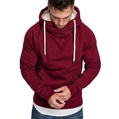 Xmiral Sweatshirt Hoodie Herren Einfarbig Knopf Kapuzenpullover mit Tasche Herbst Pullover Strickwaren Outwear mit Kapuze(c - Louis Vuitton Tasche Kostüm