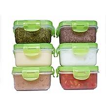 elacra Aufbewahrung von Babynahrung BPA-frei luftdicht Container Set, Gefrierschrank & Mikrowelle Safe, 6Pack