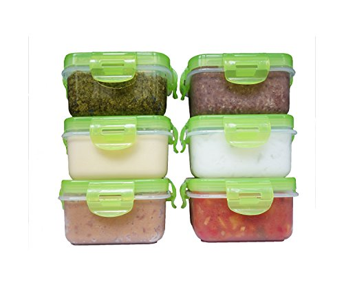 Elacra Baby Food Storage Containers - Weaning Bowls Freezer Pots Small Container Set - BPA Free Airtight, 6-Piece - 6 oz