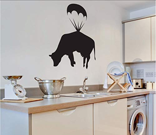 ringen Kuh Wandtattoo Küche Wandkunst Aufkleber Wohnkultur Esszimmer Fuuny Nette Wasserdichte Dekoration 42X54 Cm ()