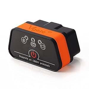 Vgate iCar2 Bluetooth3.0 Code Reader,Car Diagnostic Scanner, Mini ELM327 OBD OBD2 OBDII Scanner Check Engine Light for Torque Android/PC(Black/Orange)