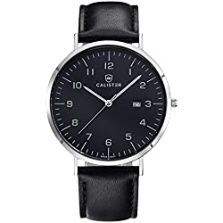 Calister BAU006 Swiss Quartz Men's Watch, Analogue, Leather Bracelet, Black