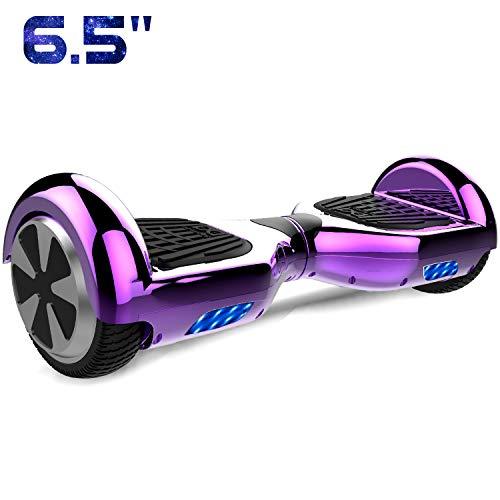 Cool&Fun 6,5 Pouces Hover Hoard Self Balance Scooter Smart Skateboard Auto-équilibrage Électrique Gyropode 2x350W sans télécommande (Chrome Purple)