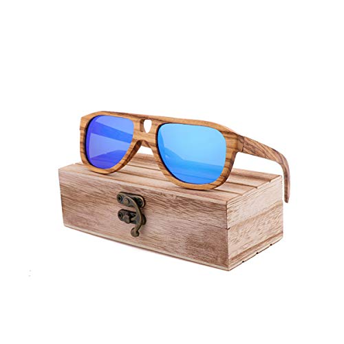 RTGreat New Hot Natural Environmental Protection Bamboo Sunglasses Sonnenbrille Retro Men And Women Models Sunglasses Sonnenbrille Engraved LOGO Zebra Wood 5608 PaperCaseD Gray