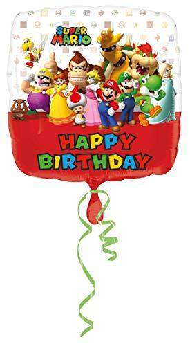 Amscan-3200901Super Mario Bros feliz cumpleaños Foil Globos