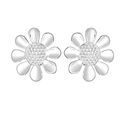 Tuscany Silver Women's Sterling Silver 15 mm Textured Daisy Stud Earrings 8.55.5339