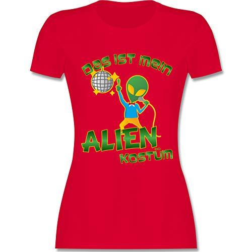Kostüm Rotes Disco - Karneval & Fasching - Das ist Mein Alien Kostüm Disco - M - Rot - L191 - Damen Tshirt und Frauen T-Shirt