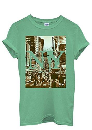 New York NY Retro Vintage Cool Men Women Damen Herren Unisex Top T Shirt Grün