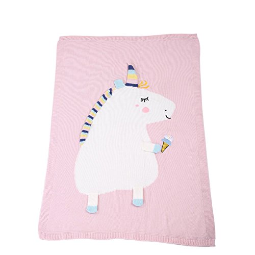puseky Baby Kinder Einhorn Knit Swaddle Quilt Teppich Weich Warm Decke Kinderwagen Wrap (Baby-quilt-decke)